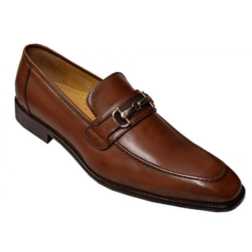Calzoleria Toscana Mahogany Genuine Leather Loafer Shoes With Bracelet 2593