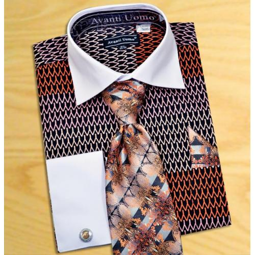 Avanti Uomo Black / Orange Pointed Two Tone Design 100% Cotton Shirt / Tie / Hanky Set With Free Cufflinks DN61M.