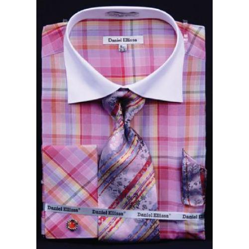 0f2893a2816c Daniel Ellissa Red / Pink / Fuchsia Checker Pattern Shirt / Tie / Hanky Set  With
