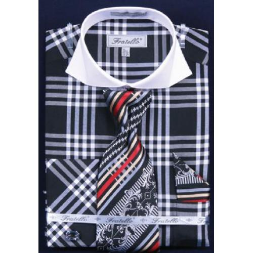 Fratello Black / White Checker Pattern Two Tone Shirt / Tie / Hanky Set With Free Cufflinks FRV4118P2
