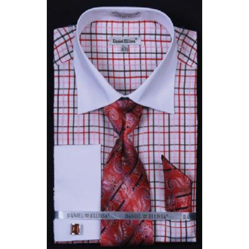 7c396b33a321 Daniel Ellissa Red Small Checker Shirt / Tie / Hanky Set With Free  Cufflinks DS3765P2