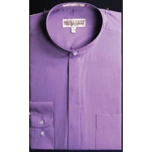 Daniel Ellissa Lavender Banded Collar Shirt With Button Cuff DS3001C