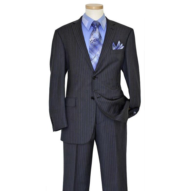 9e6055a93d89f Bertolini Charcoal Grey / Sky Blue / Silver Grey Pinstripes Wool & Silk  Blend Suit 79004