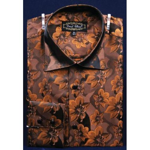Daniel Ellissa Brown Fancy Polyester Shirt With Button Cuff FSS1402