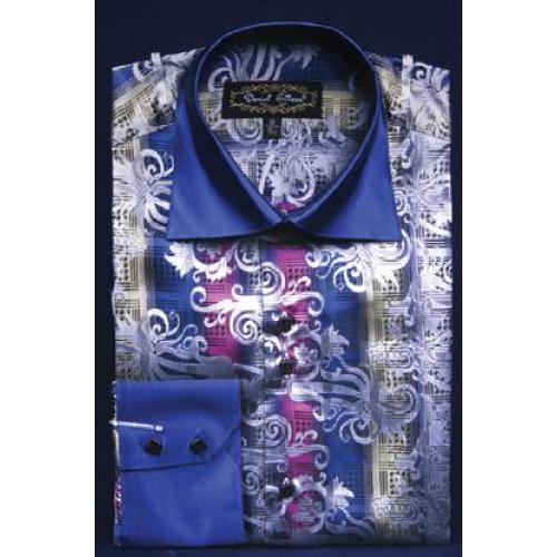 Daniel Ellissa Navy Fancy Polyester Shirt With Button Cuff FSS1407.