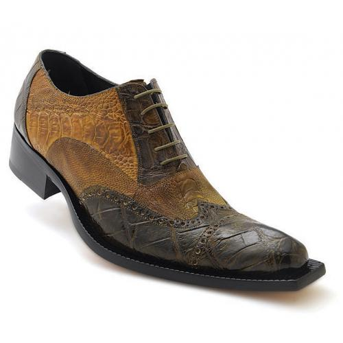 "Mauri ""Foggia"" 44213 Money Green / Olive Genuine Hand-Painted Alligator / Ostrich Leg Oxford Wingtip Shoes"