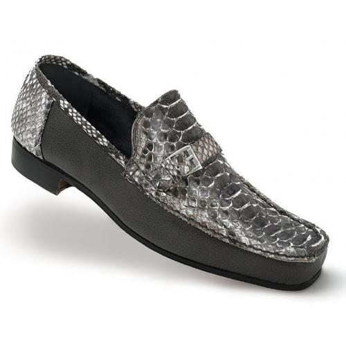 "Mauri ""Ca'D'Oro"" 3942 Grey Hand-Painted Genuine Python / Pebble Grain Nappa Leather Loafer Shoes"