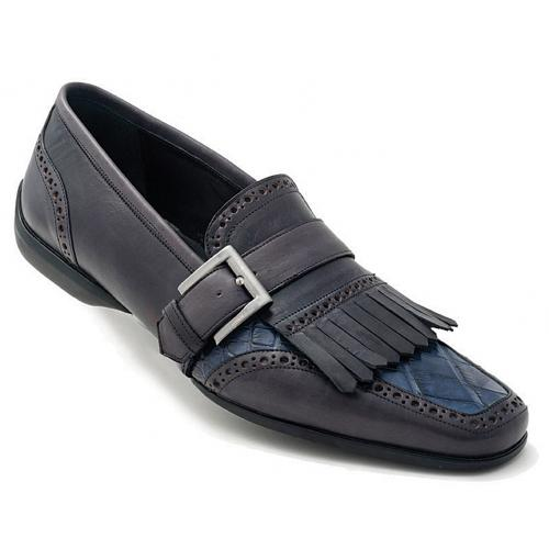 "Mauri ""Italo"" 9230 Hand-Painted Charcol Grey / Blue Genuine Alligator / Calfskin Loafer Shoes With Leather Fringes And Monkstrap"