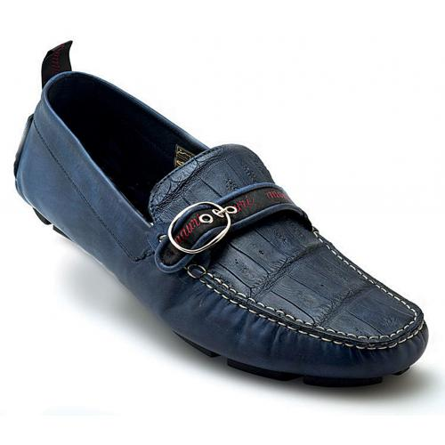 "Mauri ""Golden Touch"" 9272 Hand-Painted Navy Blue Genuine Crocodile / Calfskin Loafer Shoes With Buckle"