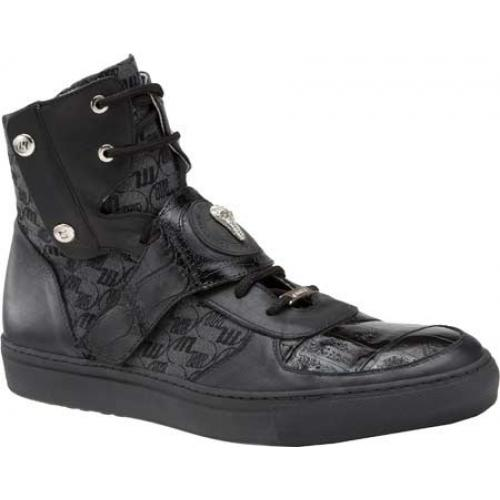 "Mauri  ""8797"" Huntington Black Genuine Baby Crocodile / Patent Leather / Embroidered Fabric High-Top Sneakers With Strap"