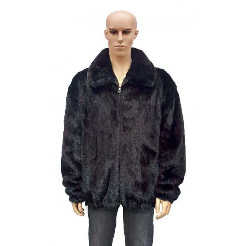 Winter Fur Full Skin Mink Men's Jacket With Fox Collar Dyed In Two Shade Of Burgundy M59R01BDT