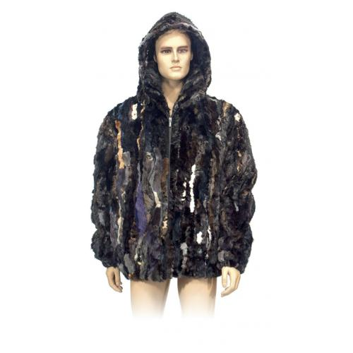 Winter Fur Multi-color Genuine Pieces Mink Jacket With Detachable Hood M09R02MU
