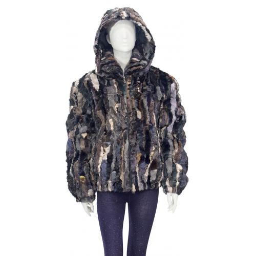 Winter Fur Ladies Multi-Color Genuine Pieces Mink Jacket With Detachable Hood W09S04MU