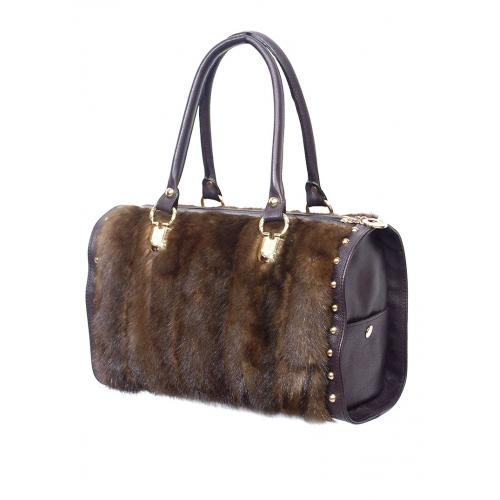 Winter Fur Ladies Brown Genuine Full Skin Mink Duffle Purse With Genuine Lambskin And Gold Details M59P01