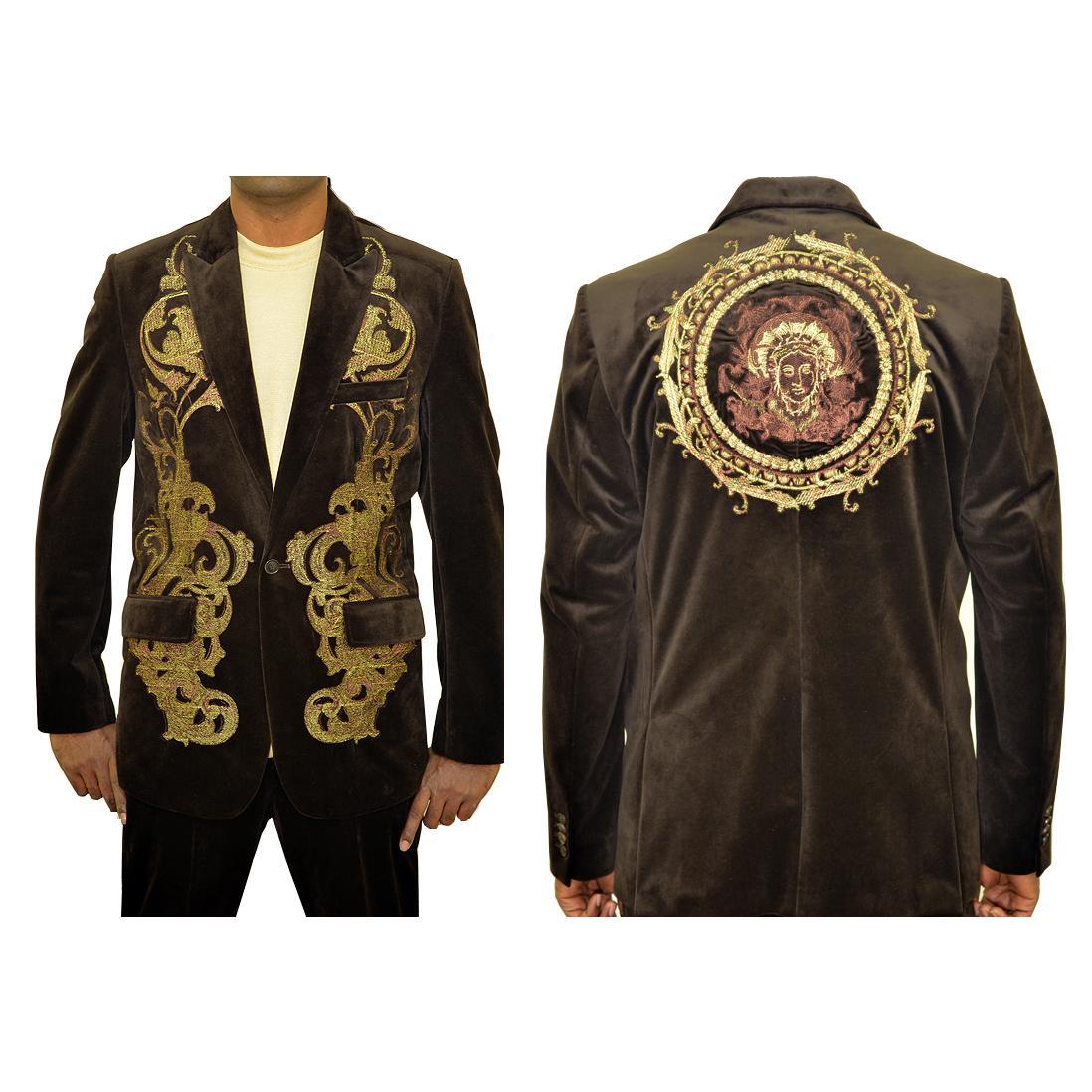 Prestige Dark Brown Velvet With Gold Embroidery Design Casual Suit Blz 425 289 90 Upscale Menswear Upscalemenswear Com
