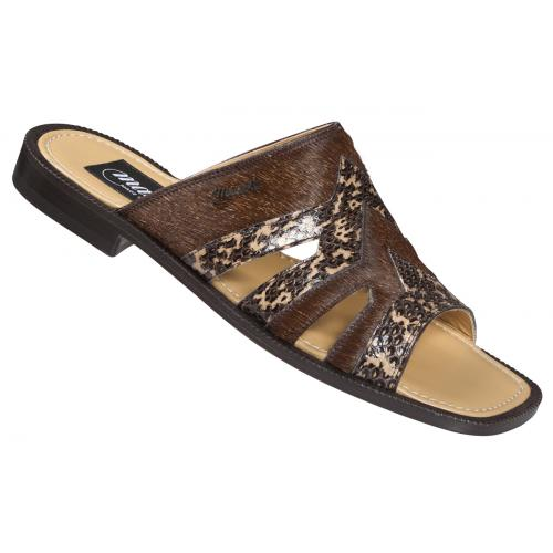 "Mauri  ""1716"" Dune/Brown Genuine Snake Skin / Irish Coffee Pony Horse Sandals"