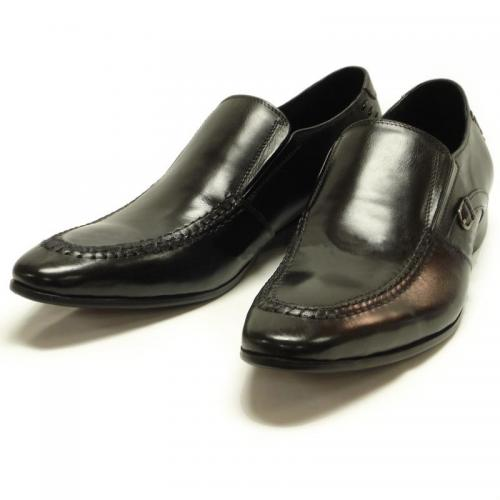 Encore By Fiesso Black Genuine Leather Loafer Shoes FI3043