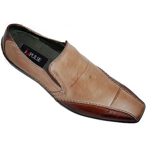 "Steeple Gate ""Impulse"" Cream/Brown Genuine Leather Shoes S22202"