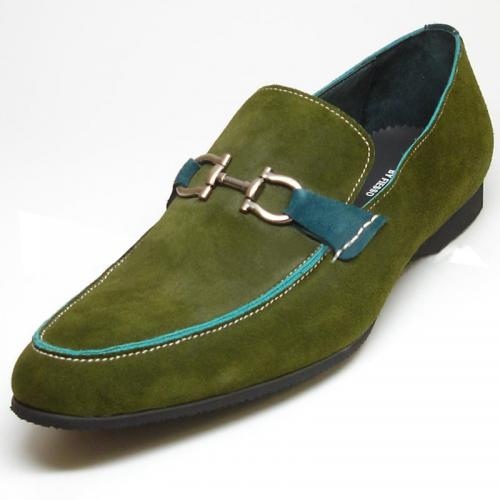 Encore By Fiesso Green Suede Buckle Loafer Shoes FI3172