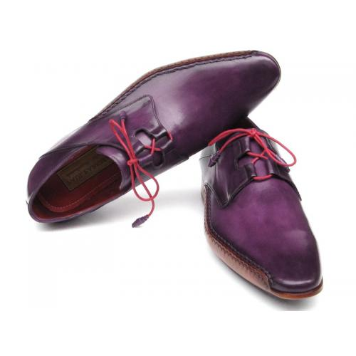 Paul Parkman ''022-PURP'' Purple Genuine Leather Ghillie Lacing Shoes.