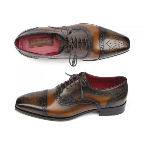 Paul Parkman 024 Camel / Olive Genuine Italian Calfskin Captoe Oxford Hand-Painted Shoes