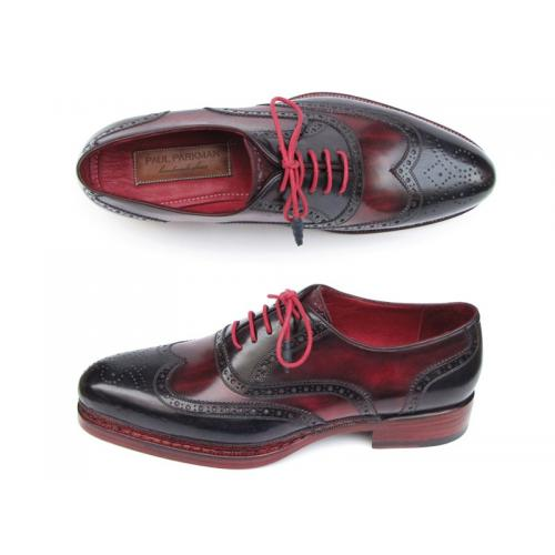 Paul Parkman 027 Navy & Red Genuine Triple Leather Sole Wingtip Brogues Shoes