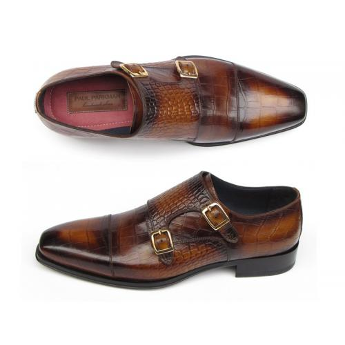 "Paul Parkman ""045-APR-BRW"" Brown Crocodile Embossed Calfskin Double Monkstrap Shoes."