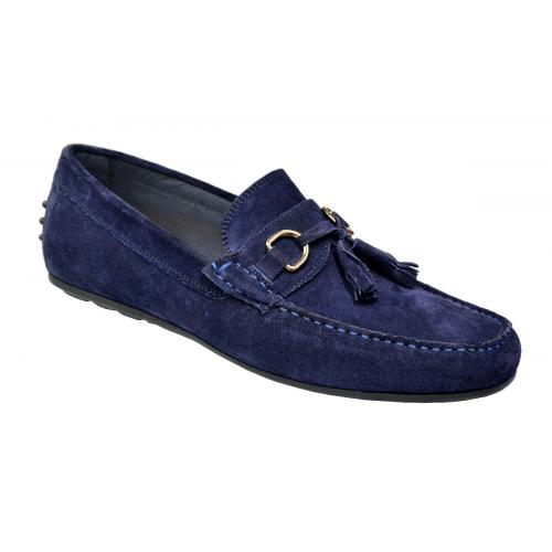 Calzoleria Toscana Navy Blue Genuine Lambskin Suede Leather Driving Bit Loafer Shoes With Tassels 2907