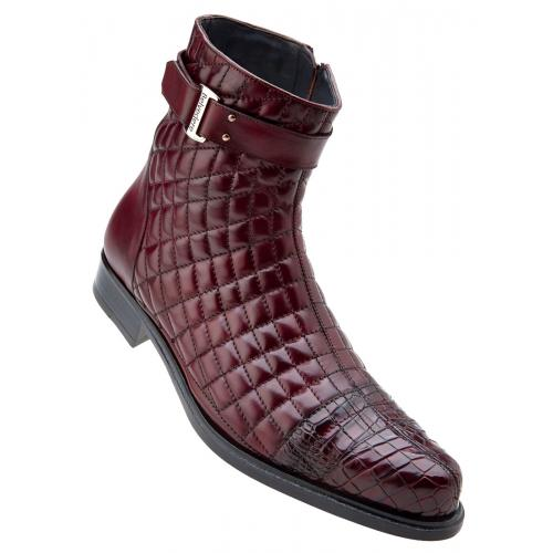 "Belvedere ""Libero"" Antique Wine Genuine Alligator / Soft Quilted Leather / Leather Sole Boots 819."