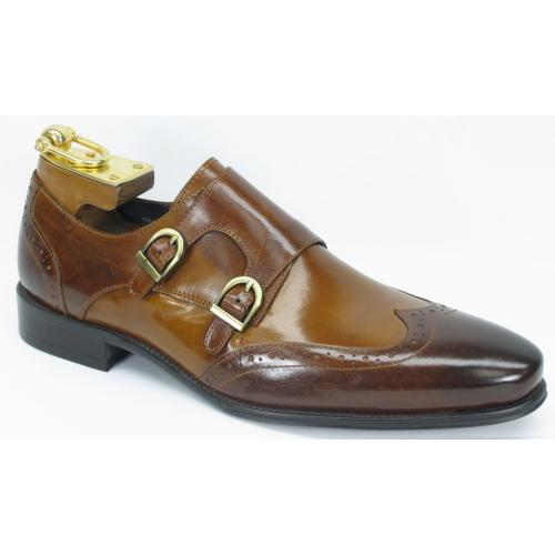 Carrucci Brown / Cognac Genuine Leather With Double Monk Straps Shoes KS099-303T.