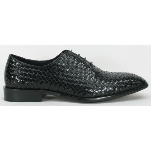 Carrucci Black Genuine Calf Skin Weave Leather Shoes KS259-13.