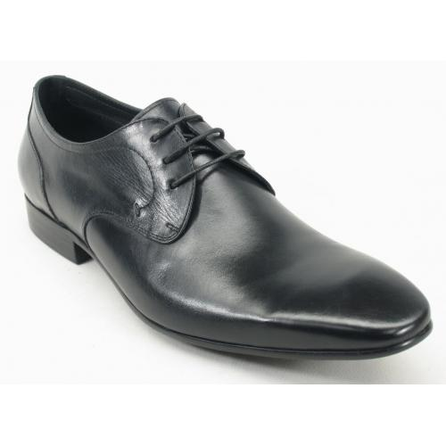 Carrucci Black Genuine Calf Skin Leather Lace- up Shoes KS308-03.