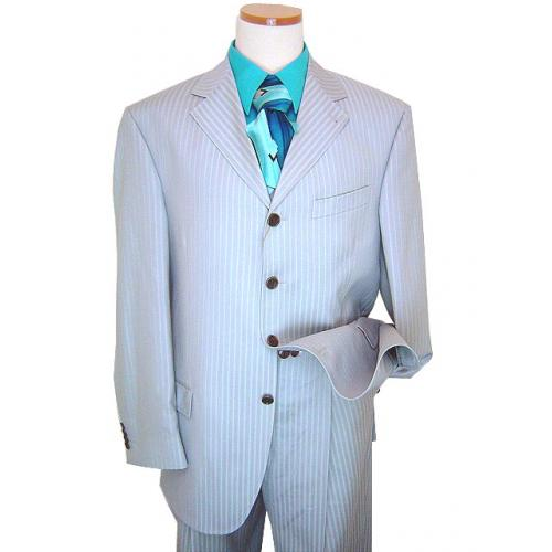 Extrema by Zanetti Silver Grey/Sky Blue Pinstripes Super 130's Wool Suit