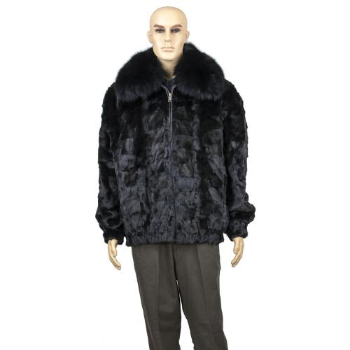 Winter Fur Black Men's Diamond Mink Jacket With Full Skin Fox Collar M49R01BK.