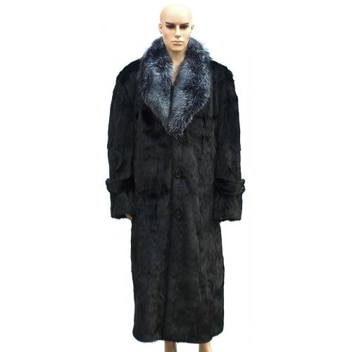 Winter Fur Black Full Skin Mink Full Length Coat With Silver Fox Collar M07F01BK.