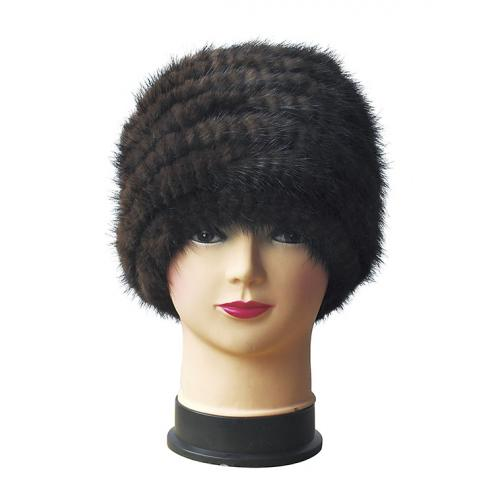 Winter Fur Ladies Brown Knitted Mink Hat W19H04
