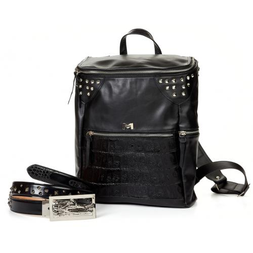Mauri Black Genuine Soft Calf / Baby Crocodile Travel Bag B83
