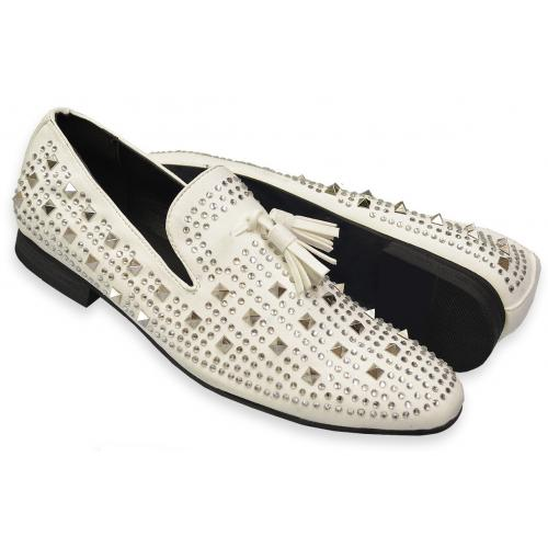 "Amali ""Tate"" White Rhinestone / Crystal Studded Microsuede Loafers With Tassels"