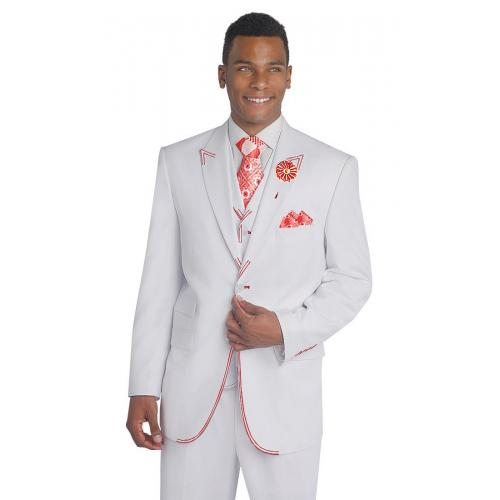 E. J. Samuel White With Red Handpick Stitching Super 150's Vested Classic Fit Suit M2688
