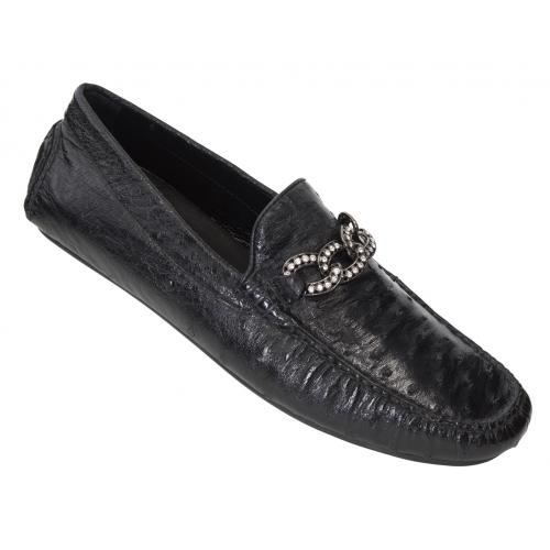 Mauri 3101/4 Black Genuine Ostrich Dress Casual Loafer Shoes With Bracelet