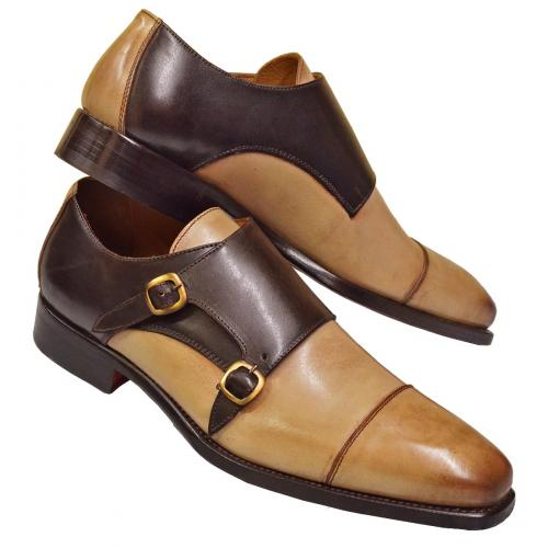 "Emilio Franco ""202"" Chocolate Brown / Beige Genuine Leather Double Monk Strap Cap Toe Shoes"