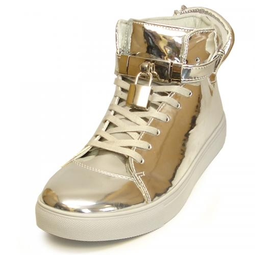 Encore By Fiesso Metallic Silver Patent Leather High Top Sneakers With Lock / Key Lace Locks FI2247