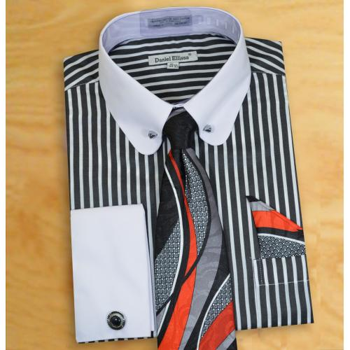 Daniel Ellissa Black / White Vertical Striped Dress Shirt / Tie / Hanky / Cufflinks / Collar Bar Set DS3791P2