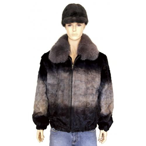 Winter Fur Grey Diamond Mink Jacket With Fox Collar M49R01GRT
