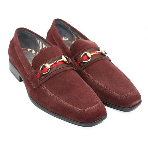 "Steve Harvey ""Lougan"" Oxblood Genuine Suede Bit Loafer Shoes"