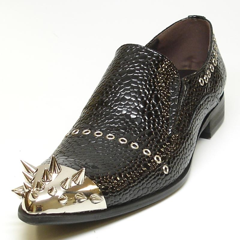 innovative design where to buy buying new Fiesso Black Genuine Leather Slip-On With Gold Spike Metal Tip ...