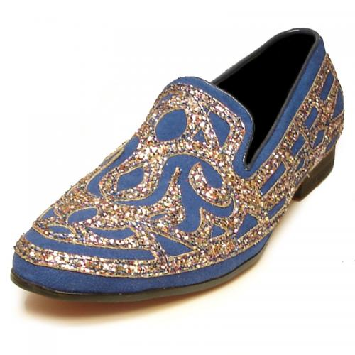 Fiesso Royal Blue / Metallic Silver Genuine Suede Leather Slip-On Shoes FI7020