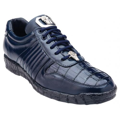 "Belvedere ""Astor"" Navy Genuine Crocodile / Soft Calfskin Casual Sneakers 3000."