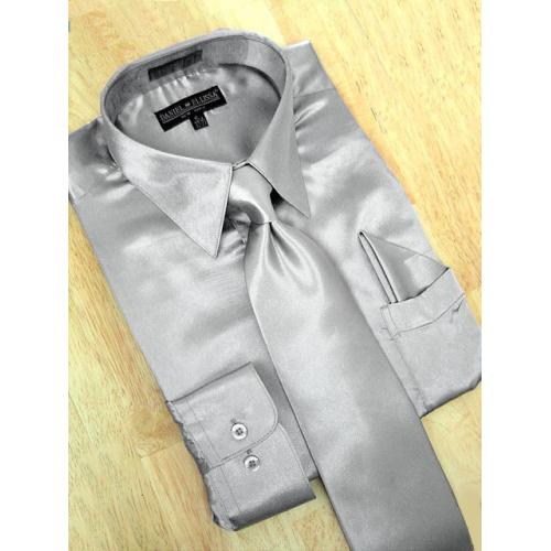 Daniel Ellissa Satin Silver Grey Dress Shirt/Tie/Hanky Set
