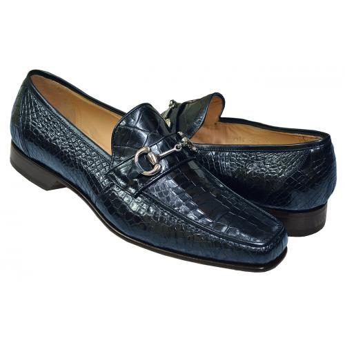 Caporicci 9872 Navy Blue All-Over Genuine Baby Alligator Bit Loafers Shoes